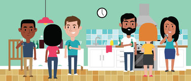 Illustration Of Friends Having Party In Kitchen At Home royalty free illustration