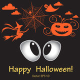 Illustration with frightened eyes at Halloween Stock Photography