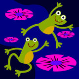Leap frog. An illustration of a frog leaping on another frog's back Royalty Free Stock Photography