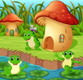 Frogs around a mushroom house. Illustration of Frogs around a mushroom house royalty free illustration