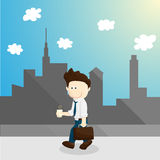 illustration froide de mode de vie de bande dessinée d'homme de salaire de temps Illustration de Vecteur