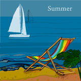 Illustration of front view of sea, Sailboat and beach with sand, palms, deck chair.  Royalty Free Stock Photos
