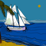 Illustration of front view of sea, Sailboat and beach with sand, palms, sun.  Stock Photography