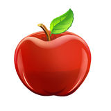 Illustration: Fruit Set: Red Apple. Realistic Cartoon Life Style Royalty Free Stock Image