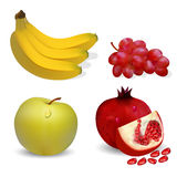 Illustration fruits apple banana grapes and pomegranates on a wh Stock Photos