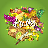 Illustration fruits. Beautiful hand drawn illustration fruits on the green background Royalty Free Stock Photography