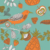 Illustration of fruits, birds, twigs Royalty Free Stock Photography
