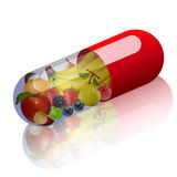 Illustration of fruits in capsule concept vitamin Stock Photography