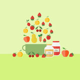 Illustration with fruits and coooking jars of jam. Card with with pan, fruits and jars of jam. Flat vector illustration royalty free illustration