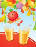Illustration with fruits Stock Photos
