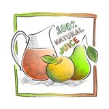 Illustration with fruits and juices Stock Image