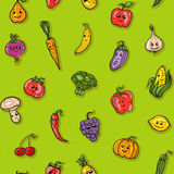 Illustration of fruits and vegetables pattern. For your design Stock Photography