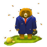 Illustration: Frustrated Big Bear with Briefcase Want to Give up. A Bee on his Noise. It's about Failure. Tried Everything, Still can't Avoid the Worst Result stock illustration