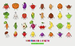 Big fruts and vegetable nuts set. Happy food characters. Food sticker set. Illustration fruts and vegetable. Funny vegetable face isolated on white background Royalty Free Stock Photos