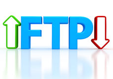 Illustration of FTP ( File transfer Protocol ). 3d illustration of FTP ( File transfer Protocol ) letter over white background Royalty Free Stock Photo