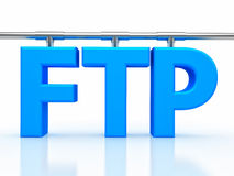 Illustration of FTP ( File transfer Protocol ). 3d illustration of FTP ( File transfer Protocol ) letter over white background Stock Photos