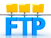 Illustration of FTP ( File transfer Protocol ). 3d illustration of FTP ( File transfer Protocol ) letter over white background Stock Image