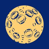 Illustration of a full moon with craters. Yellow moon icon with craters on a dark background Stock Photography