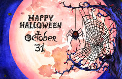 Illustration with full moon and dark web with spider 'Happy Halloween'. Hand painted  Watercolor Illustration: with full moon and dark web with spider 'Happy Stock Photo