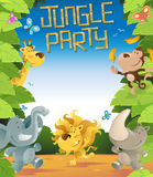 Jungle Party Border. Illustration of a Fun Jungle Border with lots of animals enjoying a fun party Stock Photography