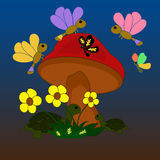 Illustration of the fungus with butterflies and turtles. In the grass royalty free illustration