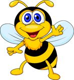 Funny bee cartoon waving Stock Photos
