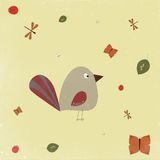 Illustration of funny bird with big tail. Abstract illustration of funny bird and insects around, butterflies, ladybugs, dragonflies at pastel colors Stock Photos