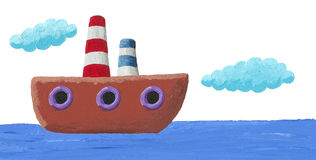 Illustration of funny boat Stock Photography