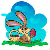 Illustration of funny bunny with big egg Royalty Free Stock Photography