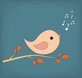 Illustration of funny cartoon bird on branch Royalty Free Stock Photos