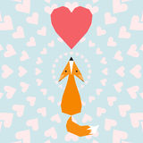 Illustration with funny cartoon geometric ginger fox and hearts for use in design for aalentines day or wedding greeting card Royalty Free Stock Photography