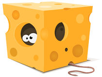 Mouse Eyes Inside Piece Of Cheese. Illustration of funny cartoon mouse characters eyes eating from inside a piece of cheese with tail visible outside Royalty Free Stock Photography