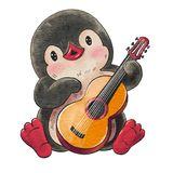 Funny cartoon penguin. Illustration with funny cartoon penguin with a guitar isolated on a white background. Drawing in watercolor and ink royalty free illustration