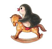 Funny cartoon penguin. Illustration with funny cartoon penguin on a toy horse isolated on a white background. Drawing in watercolor and ink stock illustration