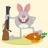 Rabbit with rifle Royalty Free Stock Photography