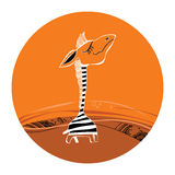 Illustration of funny cartoon zebra Royalty Free Stock Photo