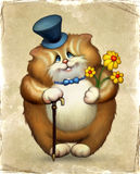 Illustration of funny cat. Old card with funny cat Royalty Free Stock Image