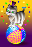 Illustration of funny cat sitting on ball. Stock Images