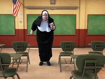 Funny Catholic School Nun, Teacher, Education. Illustration of a funny Catholic school nun. The teacher is in a classroom and is pointing her angry finger at a stock images