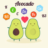 Illustration with funny character. Cute and healthy food. Vitamins contained in avocado. Fruit with kawaii face. Vector Stock Photos