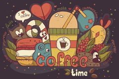 Illustration with funny characters drawn manually on the coffee theme Doodle Stock Photography