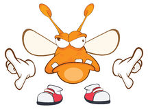 Illustration of a Funny clothes moth . Cartoon Character Stock Image