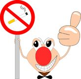 Funny comic figure indicates a non-smoking area. Illustration of a funny comic figure who indicats a non-smoking area Stock Illustration