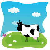 Illustration with funny cow on the meadow Stock Photos