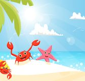 Illustration of funny crab and starfish on the beach Stock Photography
