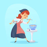 A  illustration of funny cute cartoon cook woman housewife cooking Royalty Free Stock Photography