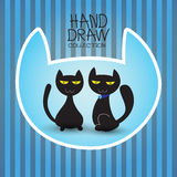 Illustration with funny cute cat hand draw collection Stock Photography