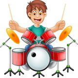 Funny drummer cartoon sitting with smile and play drum. Illustration of funny drummer cartoon sitting with smile and play drum Royalty Free Stock Photography