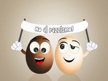 No to racism. Illustration of funny eggs with no to racism sign Royalty Free Stock Photos