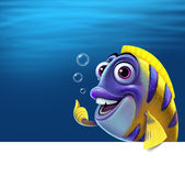 Illustration of a funny fish. Graphic illustration on the white background Royalty Free Stock Photos